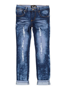 Girls 7-16 Distressed Rolled Cuff Jeans - 1629063400126