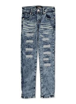 Girls 7-16 Whisker Wash Frayed Jeans - 1629063400131