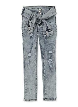 Girls 7-16 Tie Waist Distressed Jeans - 1629063400132