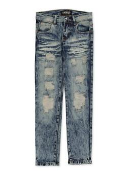 Girls 7-16 Destruction Whisker Wash Jeans - 1629063400134