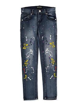 Girls 7-16 Faux Pearl Paint Splatter Jeans - 1629063400136