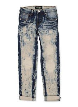 Girls 7-16 Fixed Cuff Destruction Jeans - 1629063400138