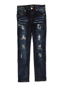 Girls 7-16 Frayed Whisker Wash Jeans - 1629063400139