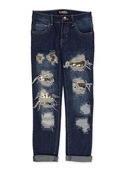Girls 5-16 Sequin Patch and Repair Jeans - 1629063400141
