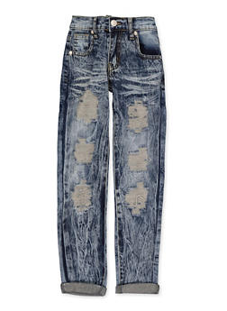 Girls Acid Wash Ripped Jeans - 1629063400146