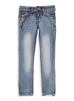 Girls 7-16 VIP Dark Wash Faux Pearl Accented Jeans - 1629065300086