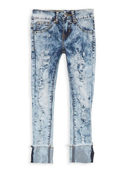 Girls 7-16 VIP Acid Wash Ripped Jeans - 1629065300088