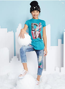 Girls 7-16 VIP Distressed Embroidered Skinny Jeans - 1629065300090