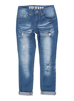 Girls 7-16 VIP Distressed Whisker Wash Jeans - 1629065300110