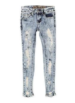 Girls 7-16 VIP Acid Wash Skinny Jeans - 1629065300113