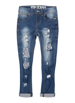 Girls 7-16 VIP Destroyed Skinny Jeans - 1629065300115