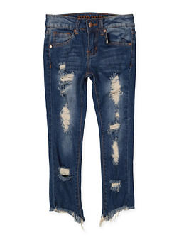 Girls 7-16 VIP Frayed Hem Destruction Jeans - 1629065300116