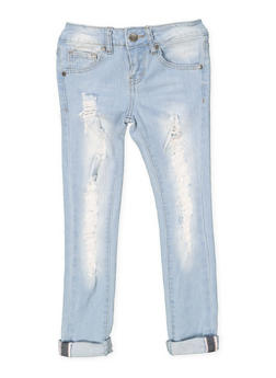 Girls 7-16 VIP Destroyed Jeans - 1629065300127