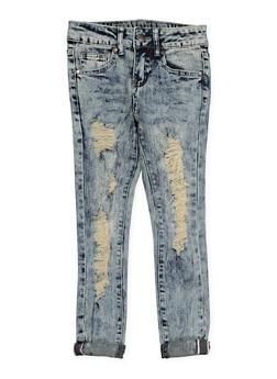 Girls 7-16 VIP Acid Wash Skinny Jeans - 1629065300128