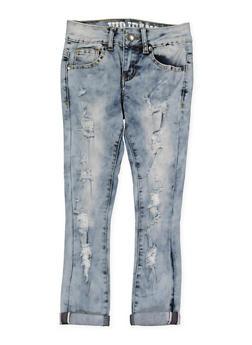 Girls 7-16 VIP Distressed Acid Wash Jeans - 1629065300129