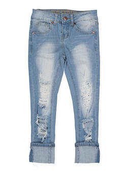 Girls 7-16 VIP Destroyed Skinny Jeans - 1629065300135