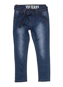 Girls 7-16 VIP Tie Waist Jeans - 1629065300154