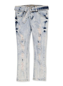 Girls 7-16 VIP Distressed Belted Jeans - 1629065300162