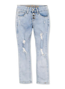 Girls 7-16 VIP Distressed 4 Button Jeans - 1629065300168