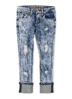 Girls 7-16 VIP Acid Wash Roll Cuff Skinny Jeans - 1629065300169