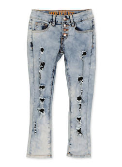 Girls 7-16 VIP 4 Button Frayed Jeans - 1629065300173