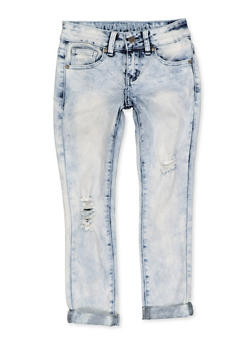 Girls 7-16 VIP Roll Cuff Frayed Jeans - 1629065300174