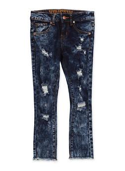 Girls 7-16 VIP Distressed Raw Hem Jeans - 1629065300177