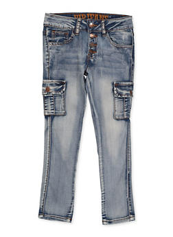 Girls 7-16 VIP Whisker Wash Cargo Jeans - 1629065300181