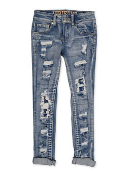 Girls 7-16 VIP Whiskered Patch and Repair Jeans - 1629065300185