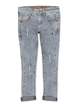 Girls 7-16 VIP Distressed Rolled Cuff Jeans - 1629065300191