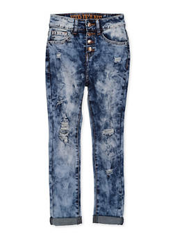 Girls 7-16 VIP Distressed 4 Button Jeans - 1629065300200