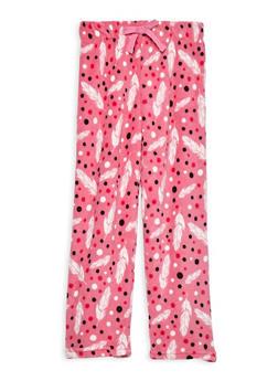Girls 7-16 Feather Fleece Pajama Pants - PINK - 1630054730051