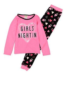 Girls 7-16 Girls Night In Graphic Pajama Top and Bottom Set - 1630054730070