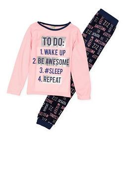 Girls 7-16 Sleep Graphic Pajama Top and Bottom Set - 1630054730071