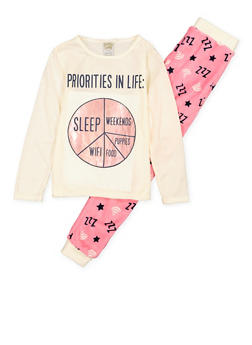 Girls 7-16 Sleep Graphic Pajama Top and Bottom Set - 1630054730072