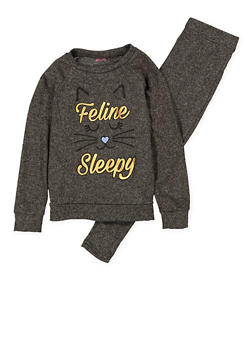 Girls 7-16 Feline Sleepy Pajama Top and Bottom Set - 1630054730074