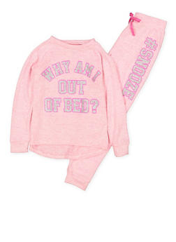 Girls 7-16 Snooze Graphic Knit Pajama Top and Joggers - 1630054730075