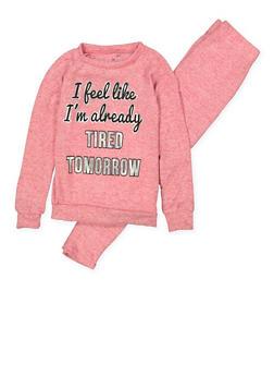 Girls 7-16 Tired Tomorrow Pajama Top and Bottom Set - FUCHSIA - 1630054730076