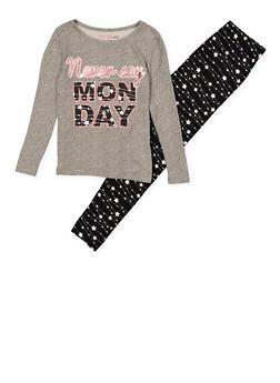 Girls 7-16 Never Say Monday Pajama Top and Bottom - HEATHER - 1630054730080