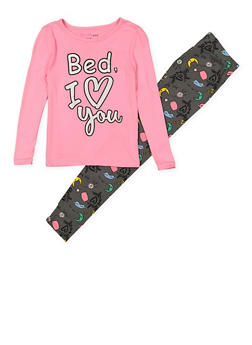 Girls 7-16 Bed I Love You Pajama Top and Bottom - 1630054730081