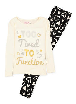 Girls 7-16 Too Tired to Function Pajama Tee and Leggings - IVORY - 1630054730082