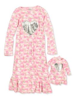 Girls 4-12 Fleece Camo Nightgown - 1630054730106
