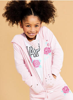Girls 7-16 Rose Embroidered Zip Up Sweatshirt - 1631023130007