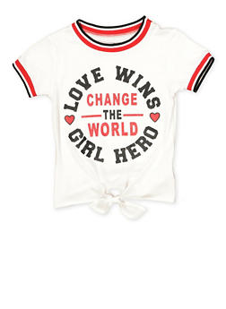 Girls 7-16 Change The World Tie Front Tee - 1631023130015