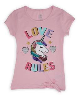 Girls 7-16 Reversible Sequin Graphic Tie Front Tee - PINK - 1631023130025