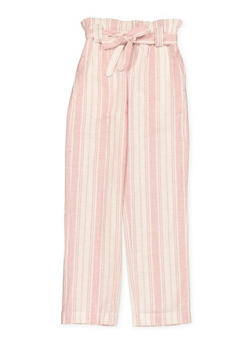 Girls 7-16 Striped Linen Paper Bag Waist Pants - 1631051060031