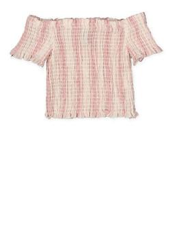 Girls 7-16 Smocked Striped Off the Shoulder Crop Top - 1631051060032