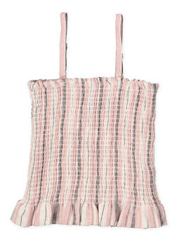 Girls 7-16 Striped Linen Smocked Top - 1631051060040