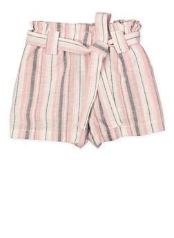 Girls 7-16 Paper Bag Waist Linen Striped Shorts - 1631051060041
