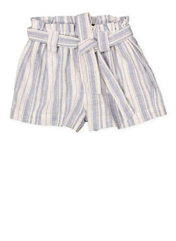 Girls 7-16 Paper Bag Waist Linen Striped Shorts - 1631051060041